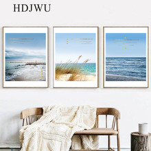 Summer Mediterranean Art Home Canvas Painting Sea Landscape Decoration Printing Posters Wall Pictures for Living Room AJ00321