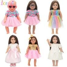 Vêtements d'été pour poupée Flamingo, 15 Styles, jupe, accessoires pour bébé, 18 pouces, 43 Cm