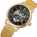 Marca de moda reloj de mano mecánico de viento de lujo para hombre relojes de pulsera con correa de acero de malla para negocios