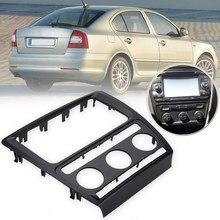 Painel de rádio traço armação da fáscia para skoda octavia (aircon automático) moldura de recarga estéreo para carros 2004-2010