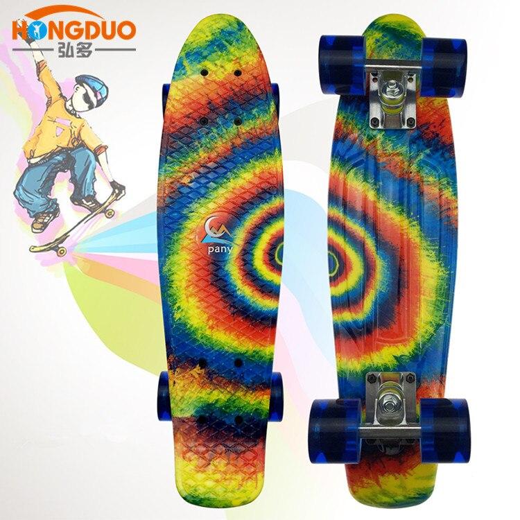 Außenhandel Einzigen Schnitt Skateboard Pp Vier rad Roller Kinder 22 Zoll Vier Rad Skateboard Rad Fisch ban shuan Straße - 2