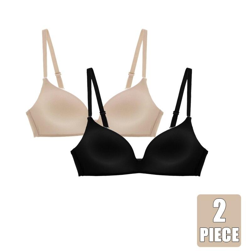 2 Pieces Seamless Women's Underwear Bra Top Wireless Bras Push Up Thin Cotton Brassiere Small Breast Sexy Bralette Easy Comfort