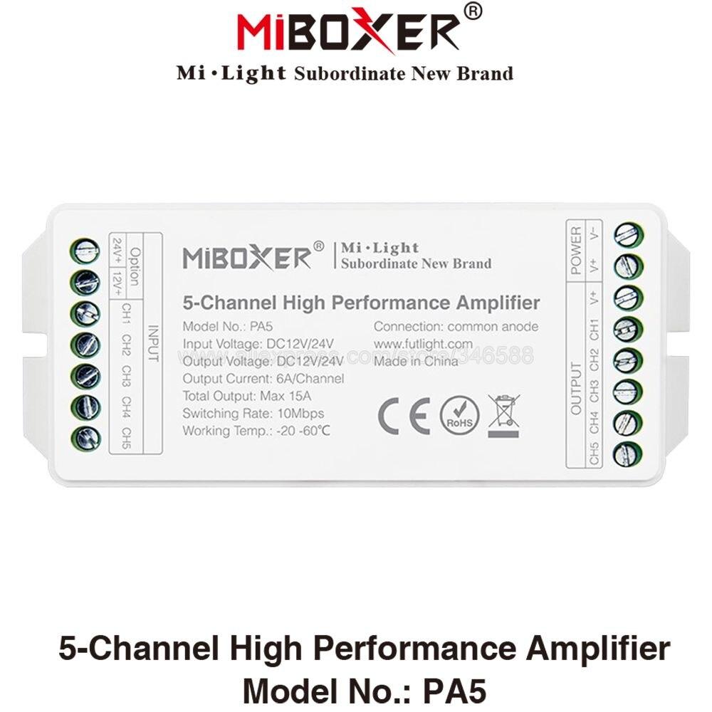 Miboxer PA5, controlador de amplificador LED DC12V 24V Max. 15A 6A de 5 canales/CH de alto rendimiento para RGB RGBW RGBWW RGB + CCT, tiras LED