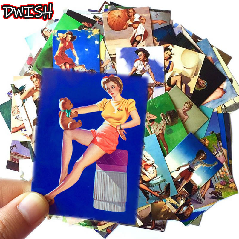 100pcs/Pack PVC Retro Vulgar Sexy Waterproof Girls Stickers Guitar Skateboard Suitcase Children Graffiti Sticker Classic Toy