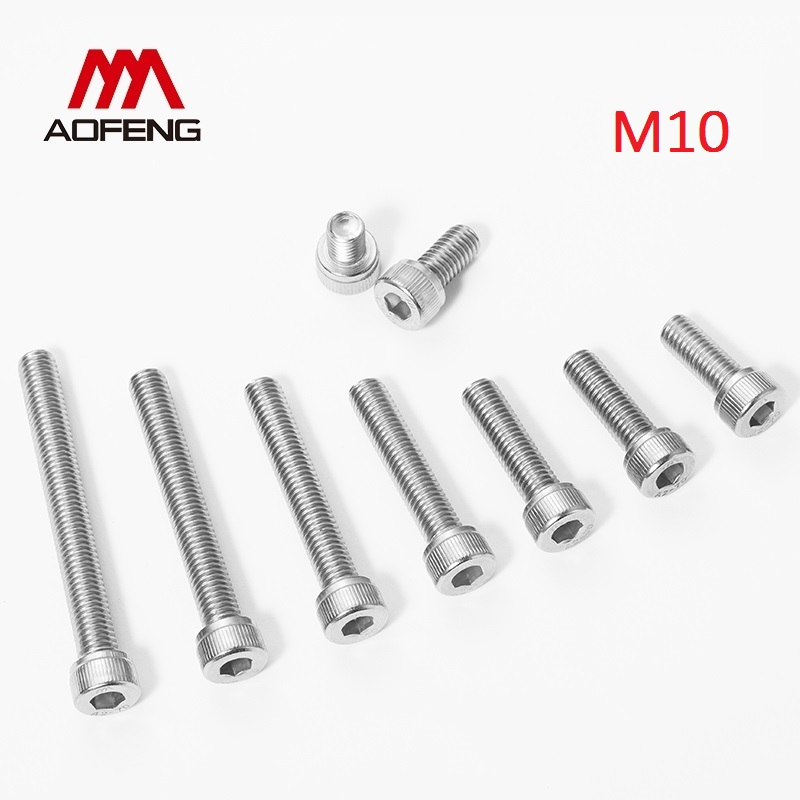 <font><b>M10</b></font> 304 Stainless Steel Hex Socket <font><b>Screw</b></font> <font><b>M10</b></font> x 12 70 75 85 90 100 110 120mm Hexagon Socket Head Cap Bolt <font><b>M10</b></font> Nut and Washers image