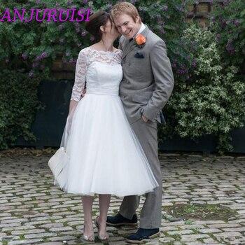 ANJURUISI Simple 3/4 Sleeves Wedding Dress 2020  Illusion Lace Cheap Short Bridal Gown With Sash A Line Vestidos de novia