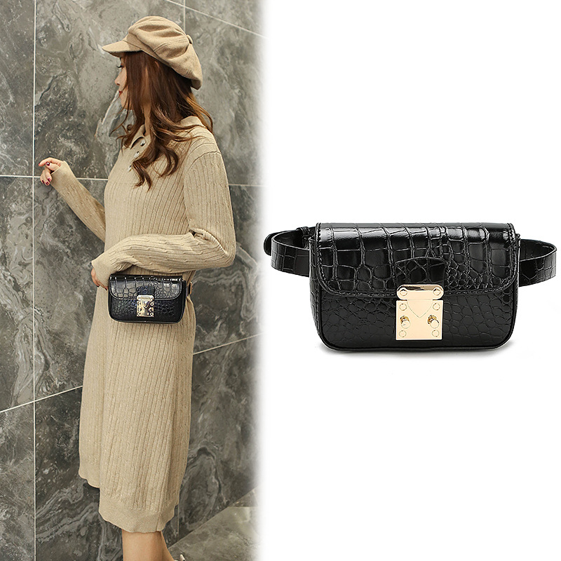 Mihaivin Women Luxury Waist Bag Black Leather Fanny Pack Female Crocodile Shoulder Chest Bags Fashion Waist Pack Travel Belt Bag