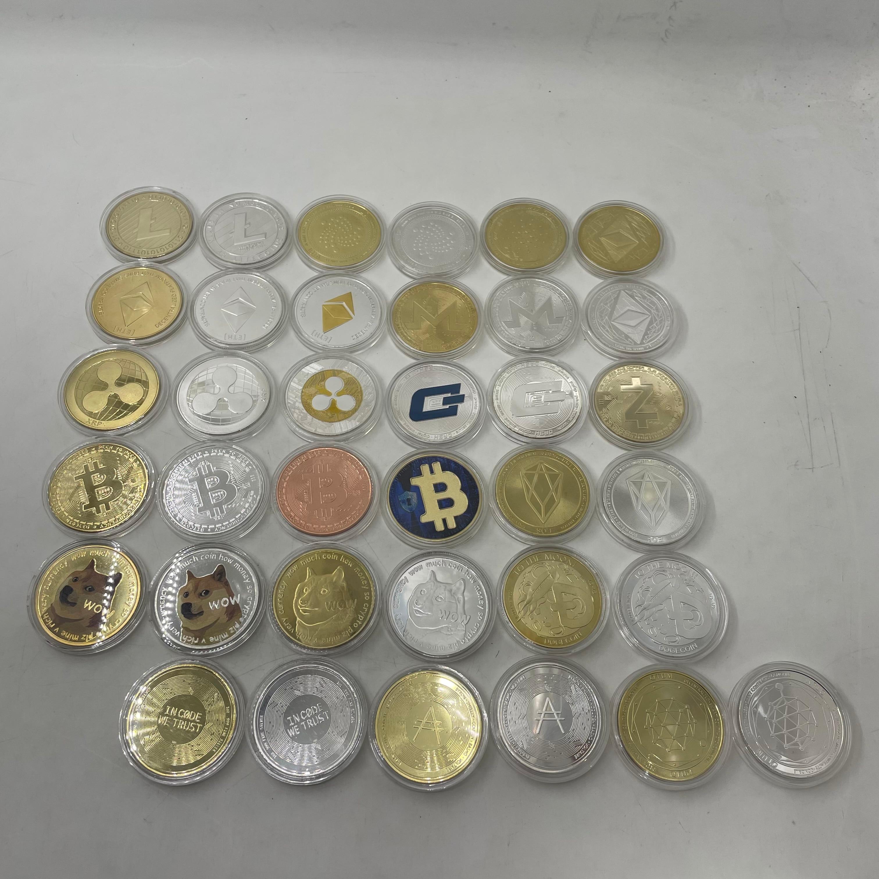 Dogecoin Coin Gold Plated Bitcoin BTC Coin Ethereum Litecoin Dash Ripple XRP EOS Binance BNB Gold Ada Cardano Crypto Coin Collec 1
