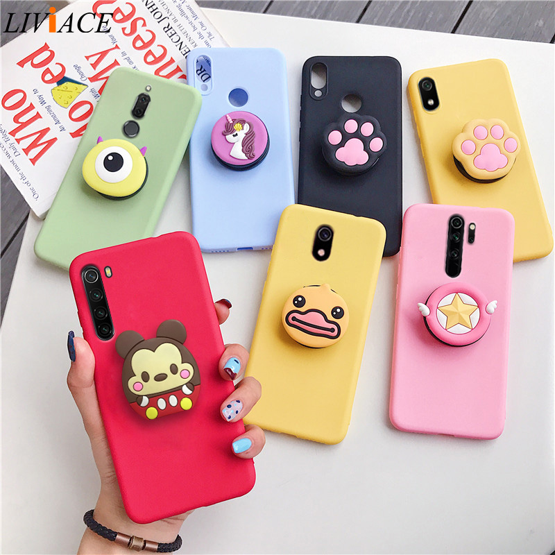 3D Cartoon Phone Holder Case For Xiaomi Redmi Note 8 Note8 Pro 8t Redmi 8 8a 7a Soft Tpu Silicone Cute Stand Animal Back Cover