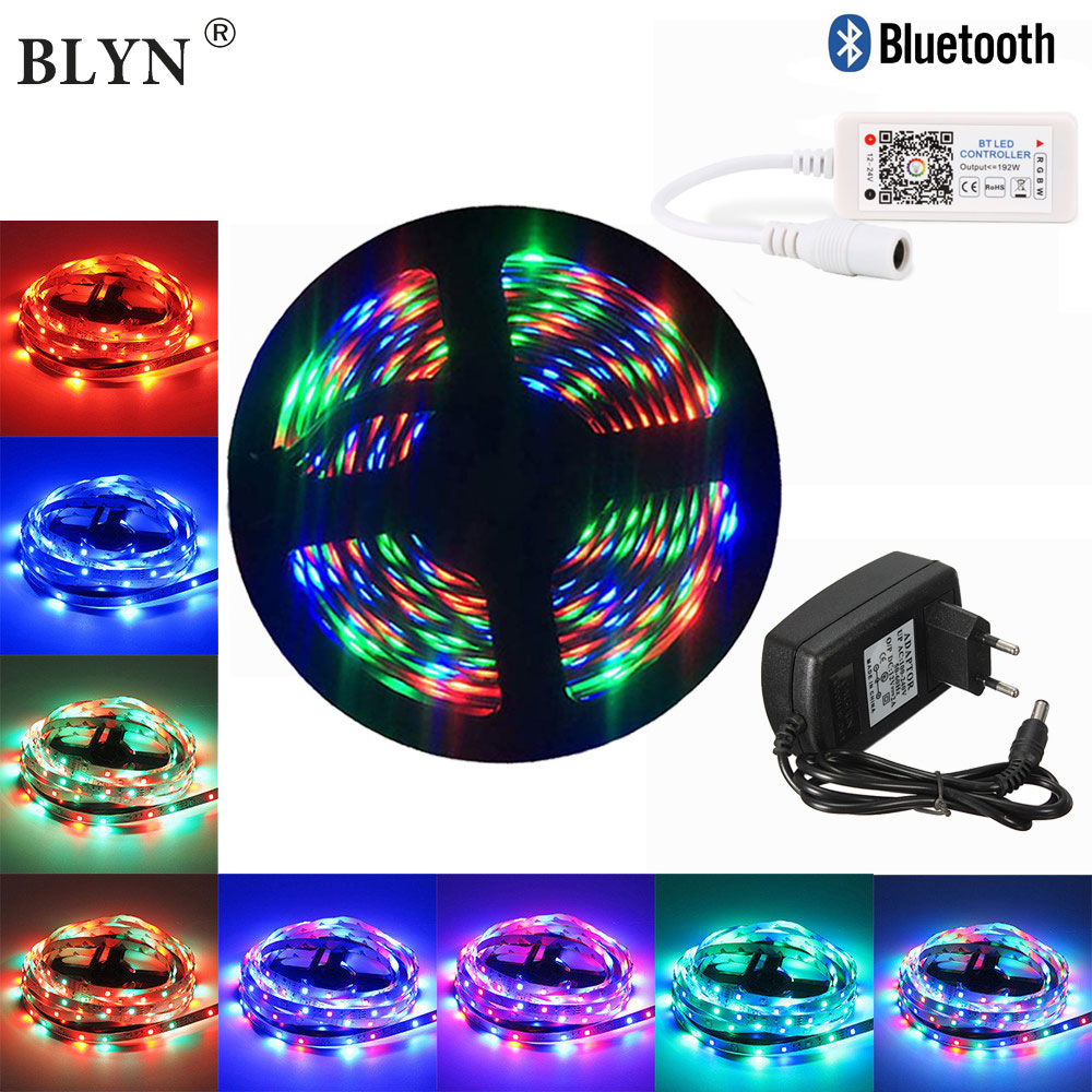 WIFI Bluetooth RGB LED Strip 12V Flexible Diode Tape 5M 10M Waterproof Ribbon Smart Phone Control Alexa Google Assistant Adapter