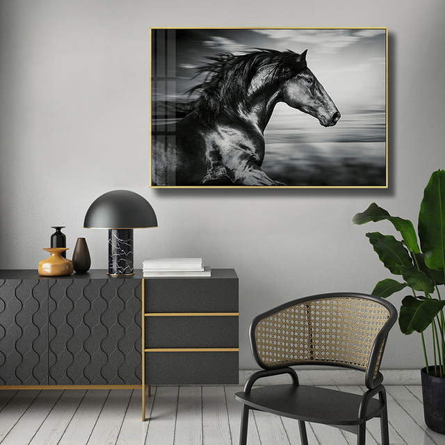 Black And White Horse Racing Family Photo Wall Decoration Hd Print Posters The Sitting Room Is The Modern Art Wall Painting With