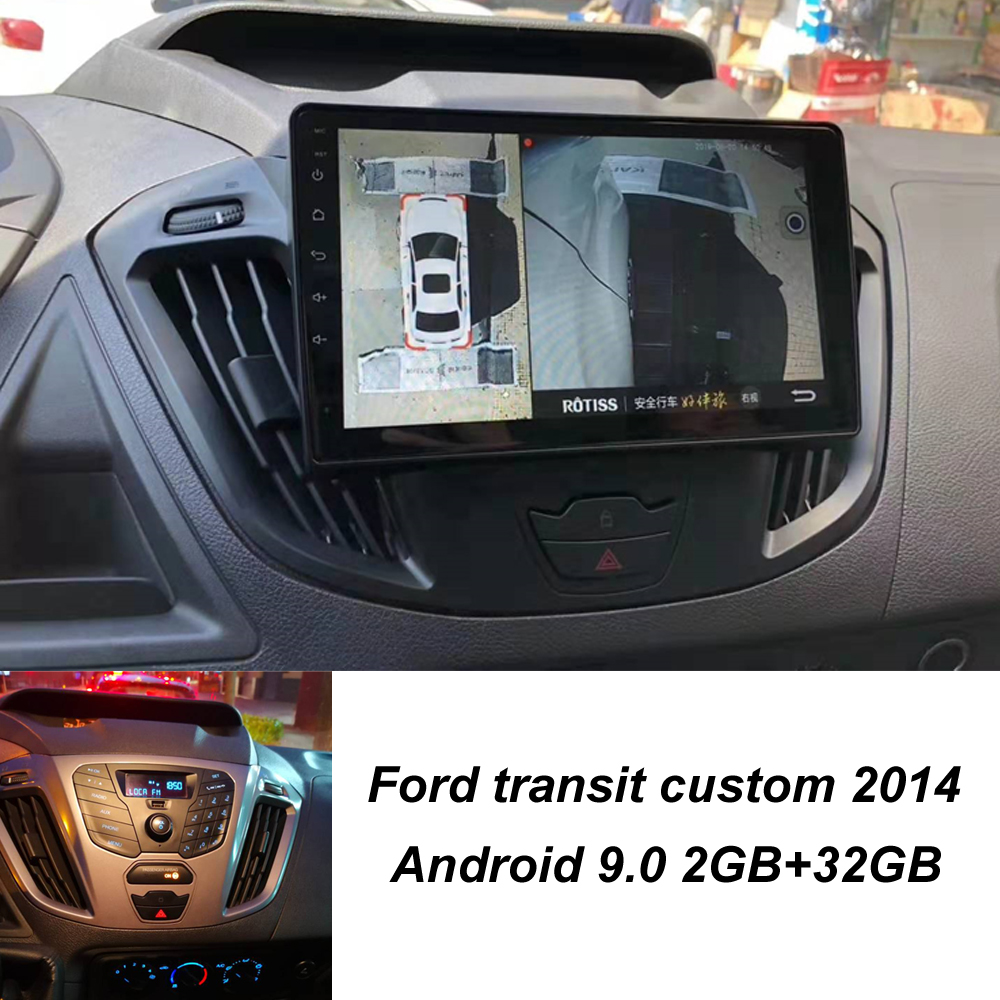 Super Slim Touch Screen Android 9.1 GPS Navigation For Ford Transit Custom 2014 Car Radio Stereo Multimedia Bluetooth Head Unit
