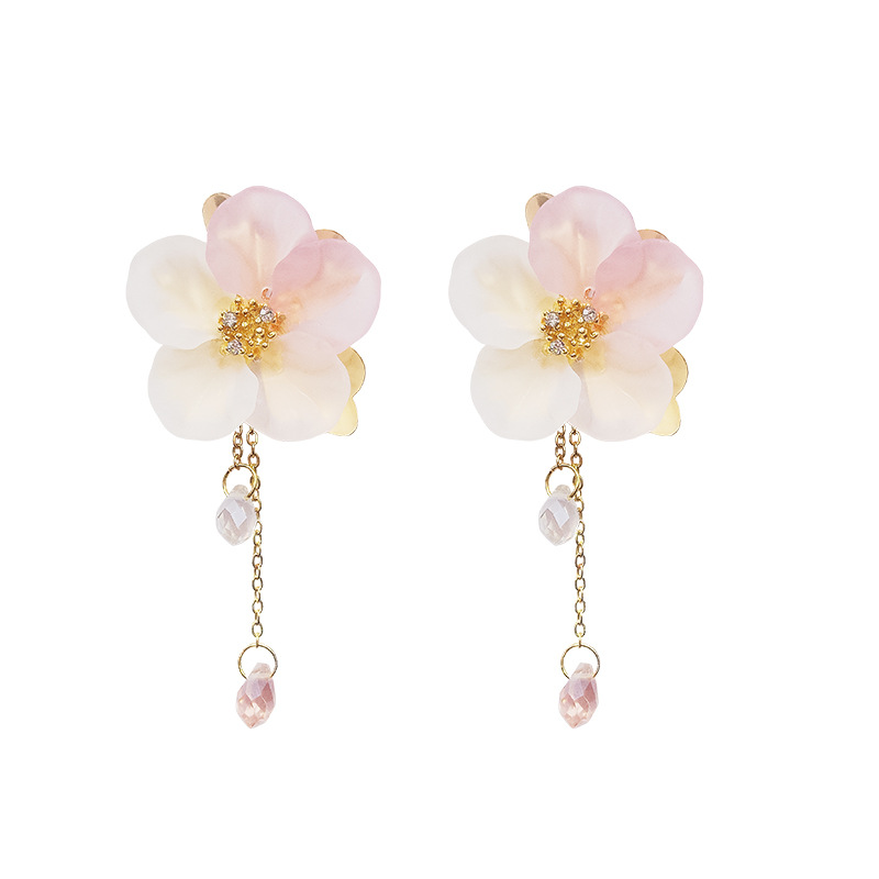 Fairy series fairy gas handmade transparent flower earrings female Korean temperament long tassel earrings earrings korean in Drop Earrings from Jewelry Accessories