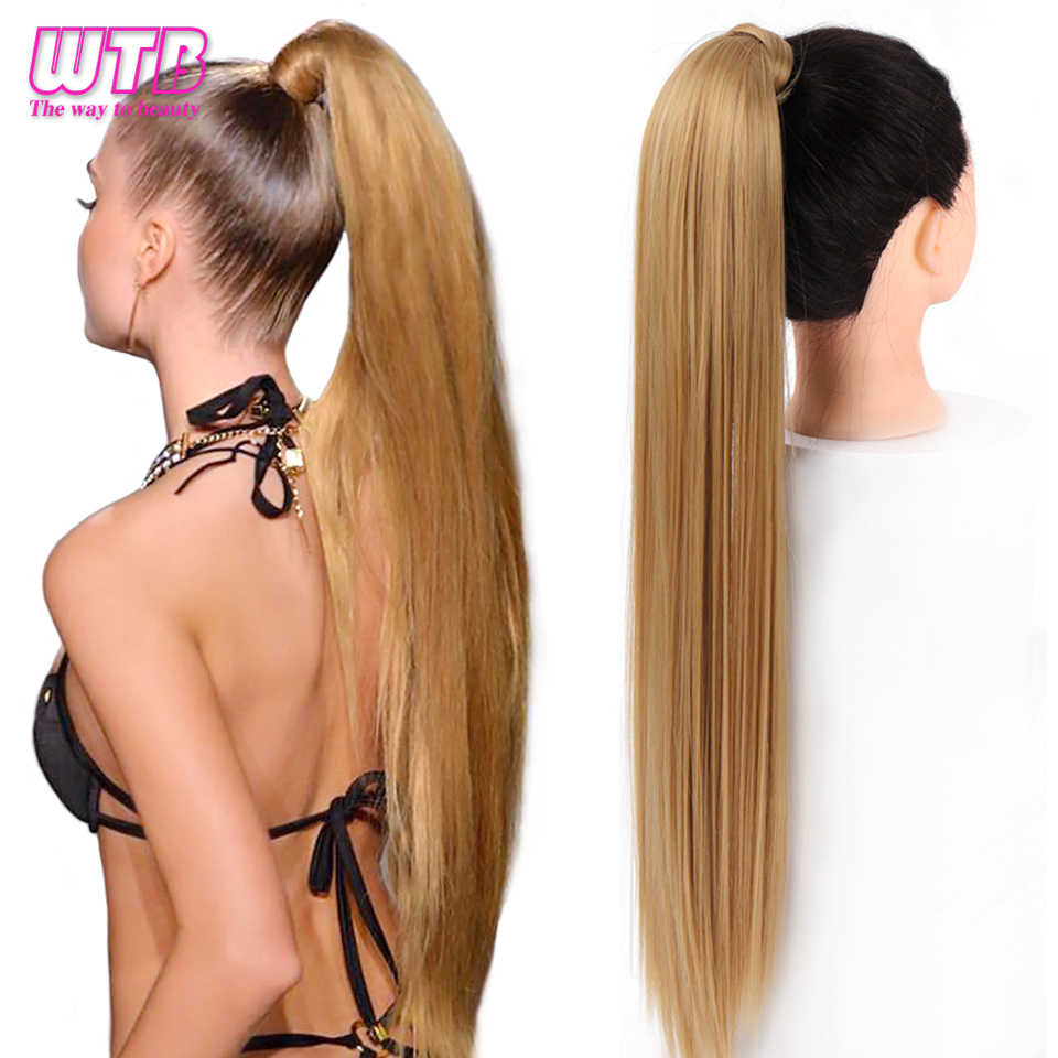 Wtb Women S Synthetic 32 Inch Long Straight Wrap Around Clip In Ponytail Hair Extensions Natural Black Brown Pony Tail Fake Hair Synthetic Ponytails Aliexpress