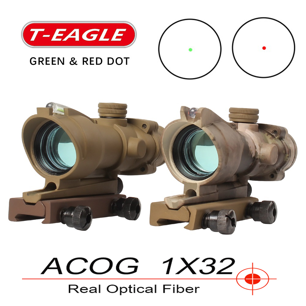 Trijicon T-eagle ACOG 1x32 Optical Rifle Scopes Spotting Red Dot M416 Reticle With 20MM Mounts Riflescope Hunting Optics Sight