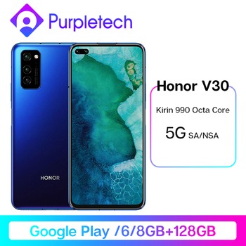 Honor V30 Google Play Kirin990 7nm Octa core 5G Smartphone 6GB 8GB 128GB 16Core GPU 40mp Triple Cam 40W SuperCharge Mobile Phone