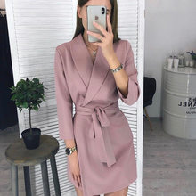 clothes for women 2020 fall Quarter Sleeve Shirt Dress women's casual solid A-line lace up Mini Party Dress vestidos