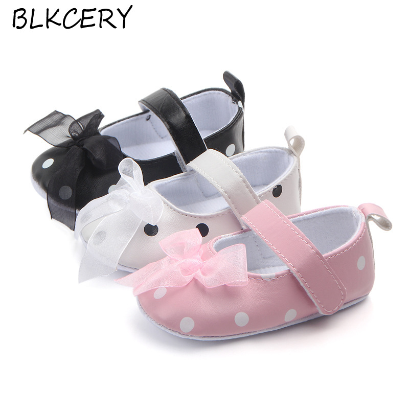 Fashion Baby Girls Crib Shoes Newborn First Steps Toddler Bows Dots Loafers Infant Tenis for 1 Year Old Footwear Doll Shoes Gift