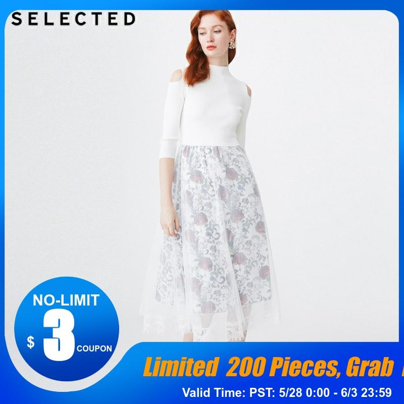 SELECTED Spring Lace Print Slim Fit Umbrella Shape Knitted Dress S|419146506
