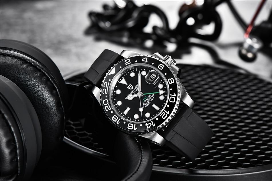 hombre relógio de pulso automático aço inoxidável gmt luxo