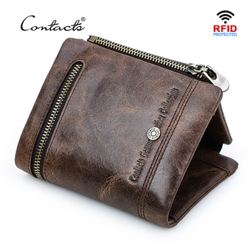 CONTACT'S Casual Wallet Genuine Leather Men Wallets Short Male Purse Card Holder Zipper Coin Bag Quality Leather Man Wallet Rfid vintage rfid wallets 100% genuine leather men short wallet for cards male coin purse card holder pocket double zipper design