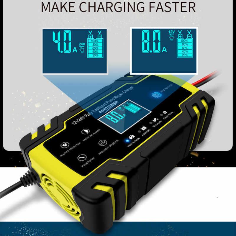 Penuh Otomatis LCD Pulse Perbaikan Charger untuk Mobil Motor AGM Gel Basah Memimpin Baterai Asam 12/24V Profesional aksesoris Mobil