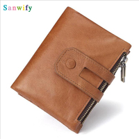 Men Wallet Leather Id Credit Card Holder Coin Purse Luxury Wallet Double Card Holder Clutch Coin Purse