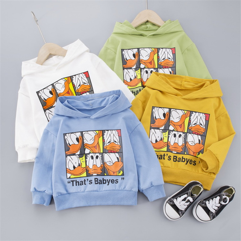 Disney Donal Duck Boys Girls Sweatshirts Cartoono Cotton Hooded Jacket For Baby Kids Korean Style Pullover Tops 1-3Y