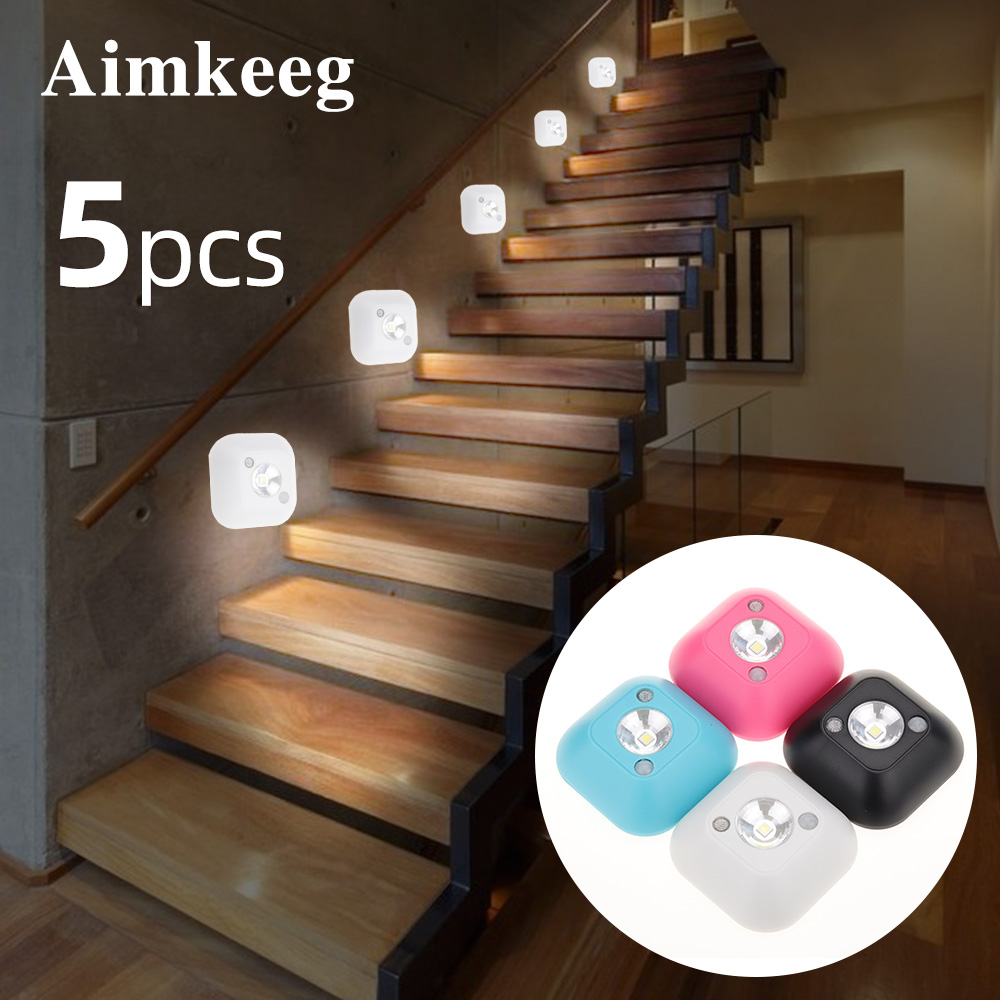 Aimkeeg LED Sensor Night Light PIR Infrared Motion Activated Sensor Lamp Battery Powered Wall Lamp Cabinet Stairs Light