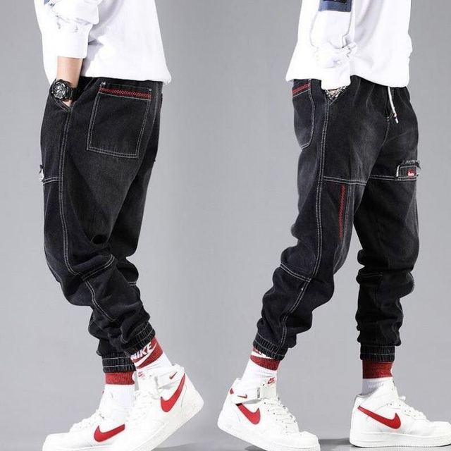 Hip Hop Streetwear Harem Jeans Pants Men Loose Joggers Denim Casual Sweatpants Korea Ankle length Trousers 4