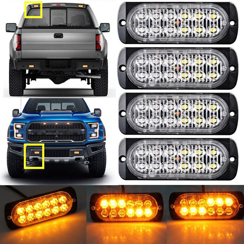 New Car LED Truck Pickup Strobe Light 12 SMD Flash Colorful Ultra-thin Side Signal Lamp Warning car accessories 12-24V