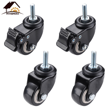 Myhomera 4Pcs Furniture Caster Heavy Duty 200kg 1.5 inch 40mm 360 Rotatable Screw Swivel Castor Wheels Trolley Rubber Protective