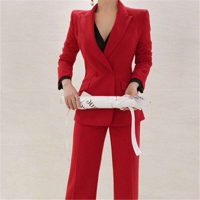 Runway Chic Red Women Pant Suits Slim Blazer Coat + High Waist Pants Sexy Female Business Blazer Suits Set 2 Pieces Suit 2020