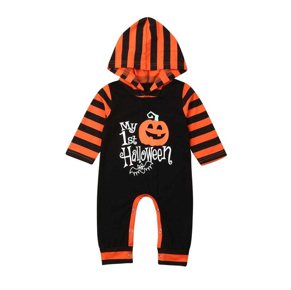 Newborn Baby Girl Boy Pumpkin Clothes Hoodie   Romper   Cartoon Letter Stripe Jumpsuit Outfit Halloween Costume