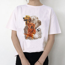Vintage Golden Retriever tier druck t shirt femme sommer top weibliche nette t-shirt frauen weiß t shirt log liebhaber t-shirts(China)