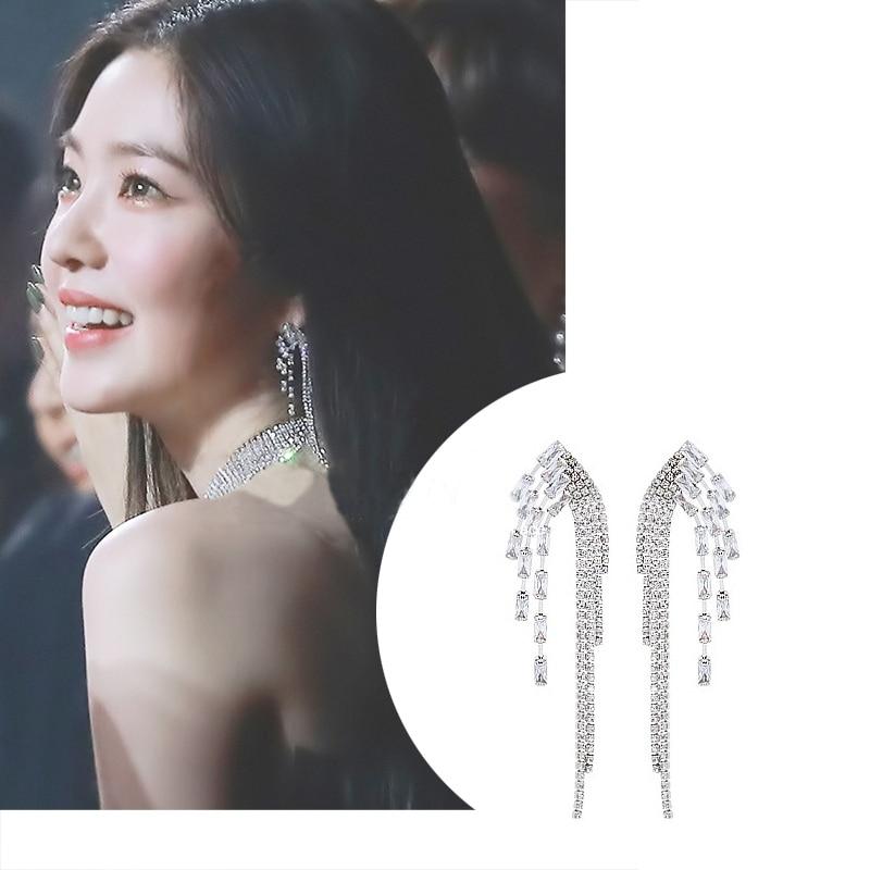 MENGJIQIAO Korean TV Star Luxury Rhinestone Symmetric Wing Tassel Long Drop Earrings For Women Fashion Pendientes Mujer Moda