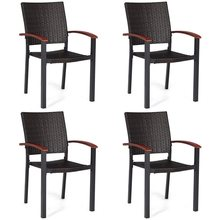 4 Pcs Patio Rattan Dining Chairs Armchair Stackable Wicker Aluminum Tube Comfortable Wood Armrest Stacked Design Chair HW59991(China)