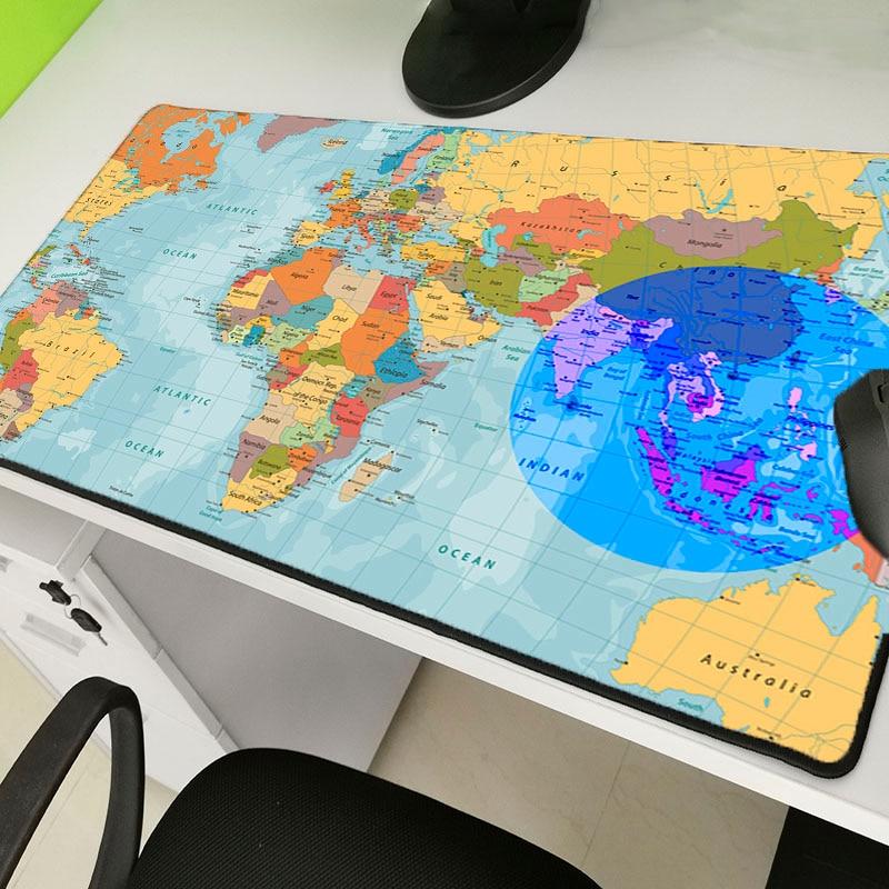 Yuzuoand  World Map Large Game Console Custom Mousemat Anti-skid Lock Edge Mousepad Keyboard Pad Laptop Desk Pad Large Mouse Pad