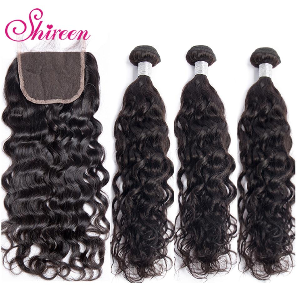 Shireen Hair Malaysian Water Wave Bundles With Lace Closure Natural Color Human Hair Bundles With Closure NonRemy Hair Extension