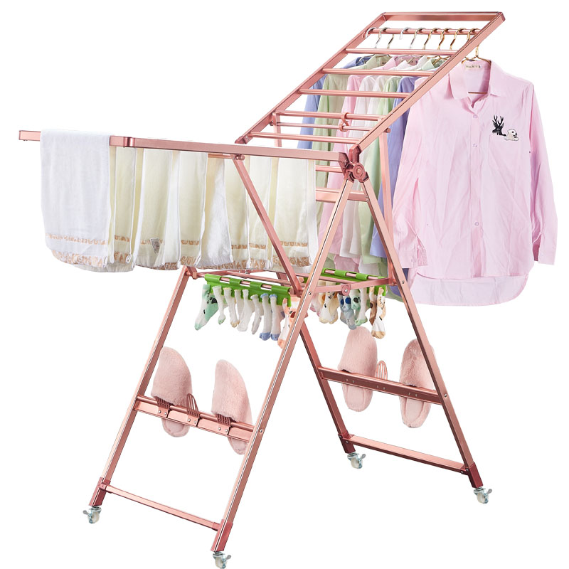 Magnesium titanium alloy wing type drying rack floor folding drying rack balcony indoor and outdoor drying quilt cool hanger image