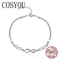 COSYOU Authentic 925 Sterling Silver Endless Love Infinity Chain Link Adjustable Women Bracelet Luxury Silver Jewelry SCB037