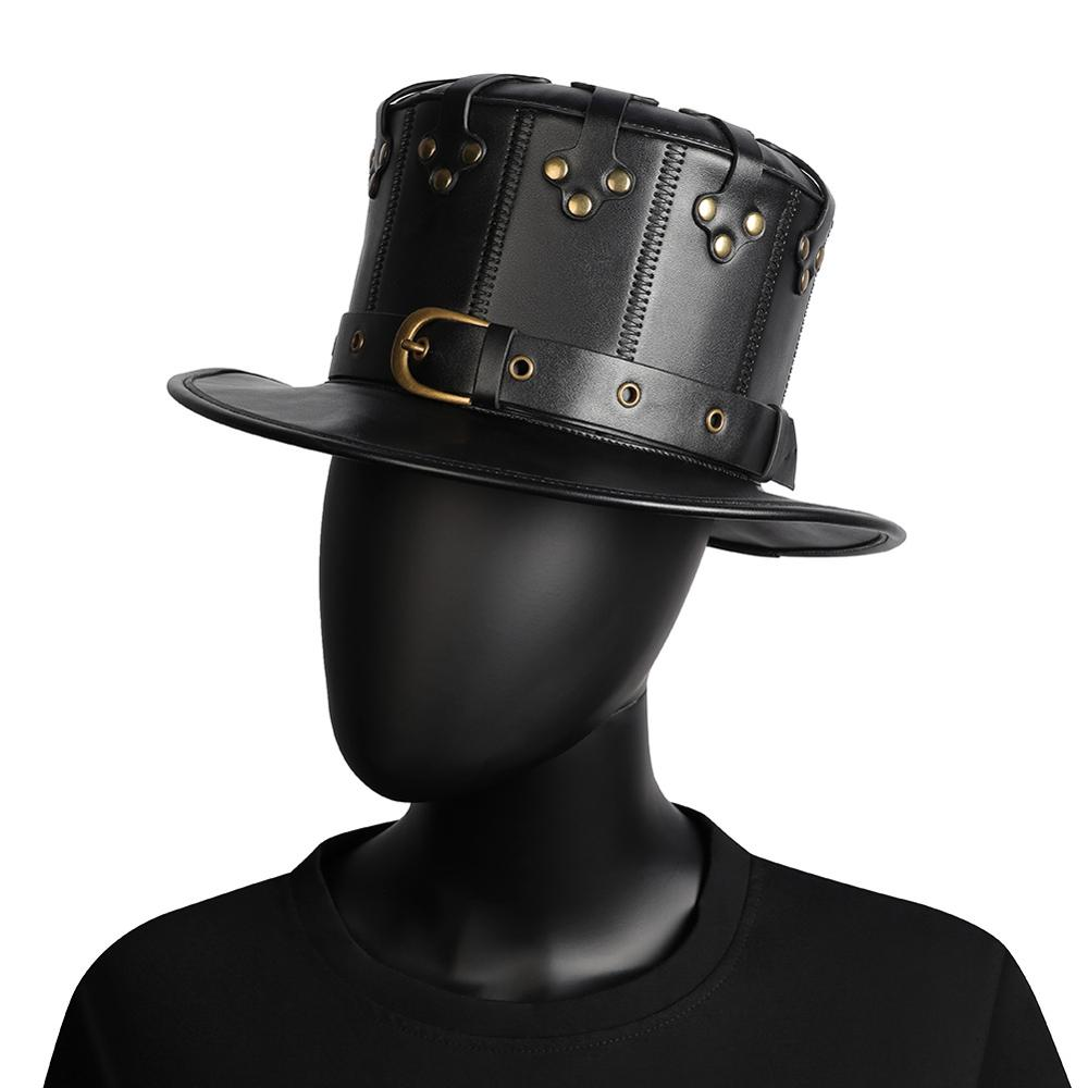 Черная Клепка для взрослых, искусственная кожа, для Хэллоуина, чума, доктор, плоская шляпа, стимпанк, готический косплей костюм, реквизит