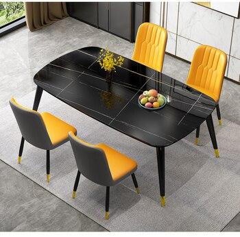 Dining Table Set Muebles Furniture Yellow Nordic Mordern Kitchen Rectangle мебель для столовой обеденные столы sillas de comedor столы обеденные полукруглые