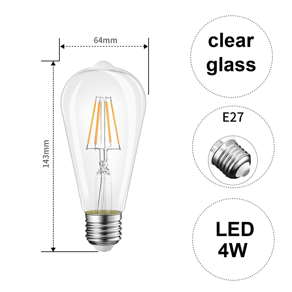 Leuchtmittel 5 Piece Led 5 Watts E27 Long Life Bulb Warm White Clear Large Edison Fiscleconsultancy Com
