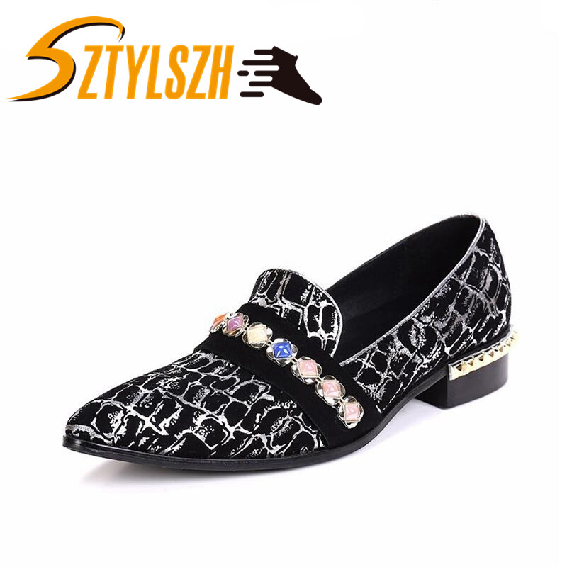 Italian Style Men's Casual Loafers Genuine Leather Dress Shoes Gemstone Smoking Slipper Men Rivets Flats Wedding Party Shoes