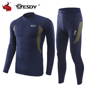 ESDY Winter Thermal Underwear Sets Quick Dry Sport Suit Running T-shirt Set Breathable Tight Long Tops & Pants Moto Jacket+Pants 1