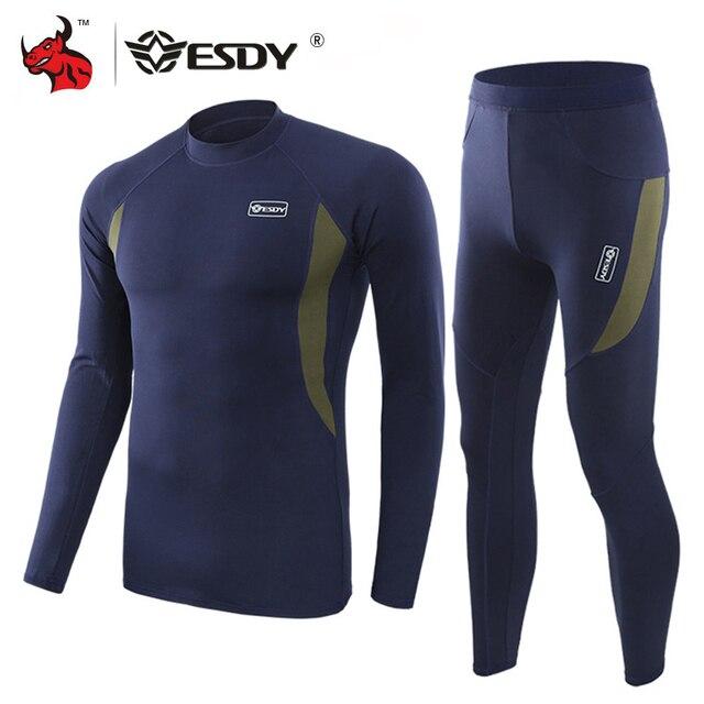 ESDY مجموعة ملابس داخلية شتوية حرارية ، بدلة رياضية سريعة الجفاف ، تي شيرت طويل مسامي ، ضيق ، سروال سترة دراجة نارية