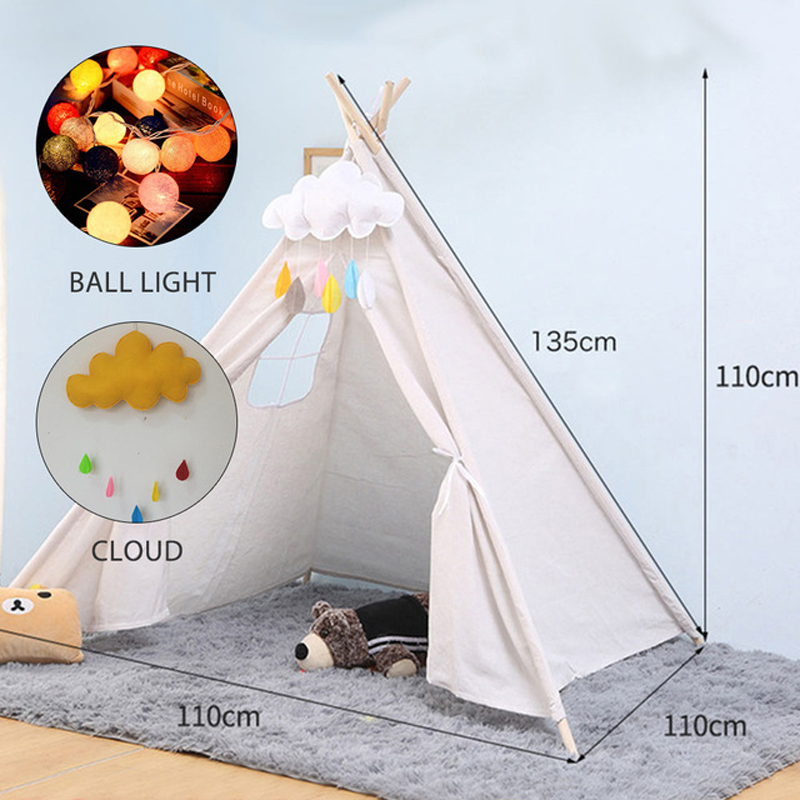 Child Portable Cotton Home Tipi Folding Indoor Children's Tent Teepee Original Triangle Indian Kids Tent Wigwam For Children