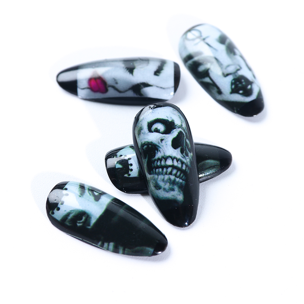 Big Eye Blood Ghost Image Nail Sliders on nails