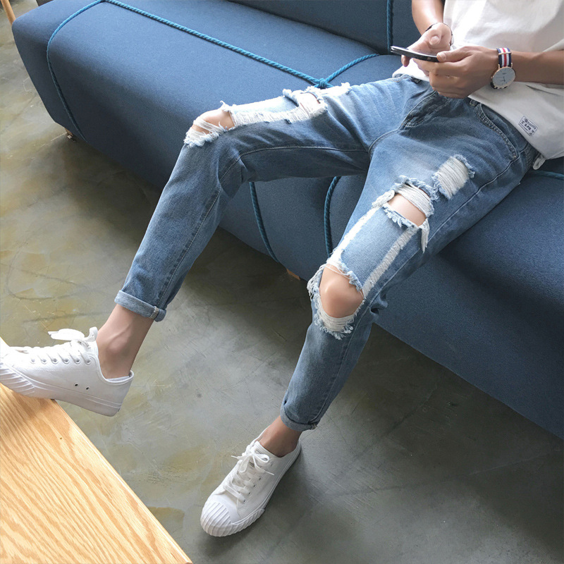 Knee A- Line Large With Holes Jeans Men's Skinny Pants Trend Korean-style Slim Fit Light Blue Beggar Summer Capri Pants